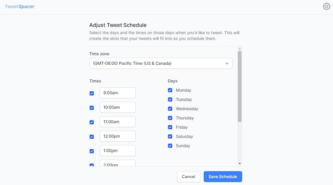 tweetspacer edit time slots