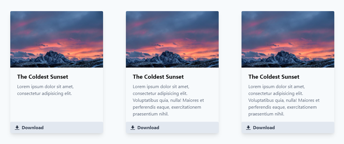 Tailwind CSS cards template example