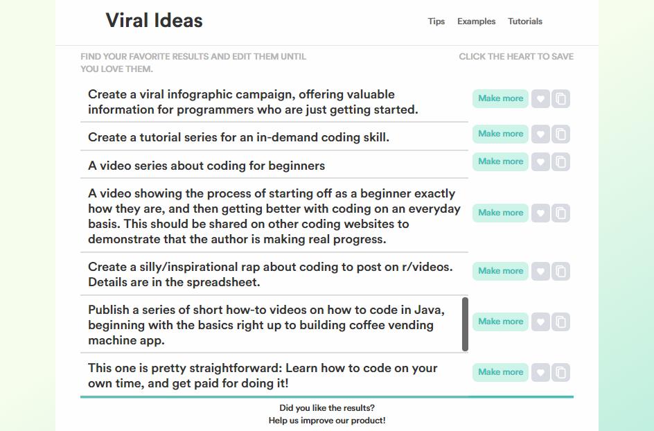 copy viral ideas outputs