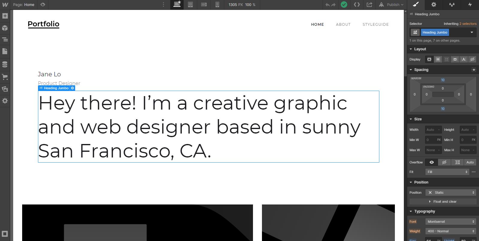 Webflow designer tool
