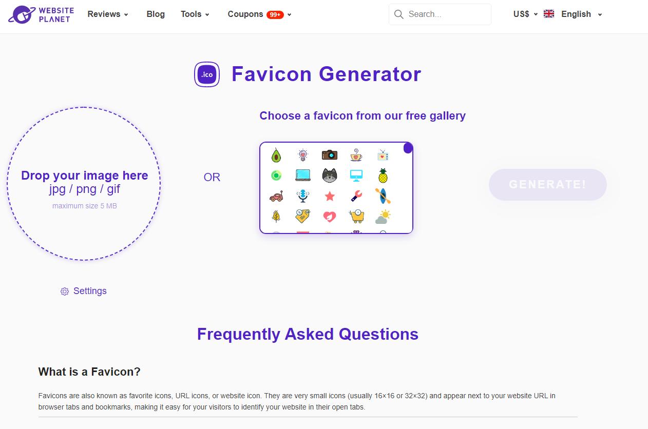 WebsitePlanet Favicon Generator